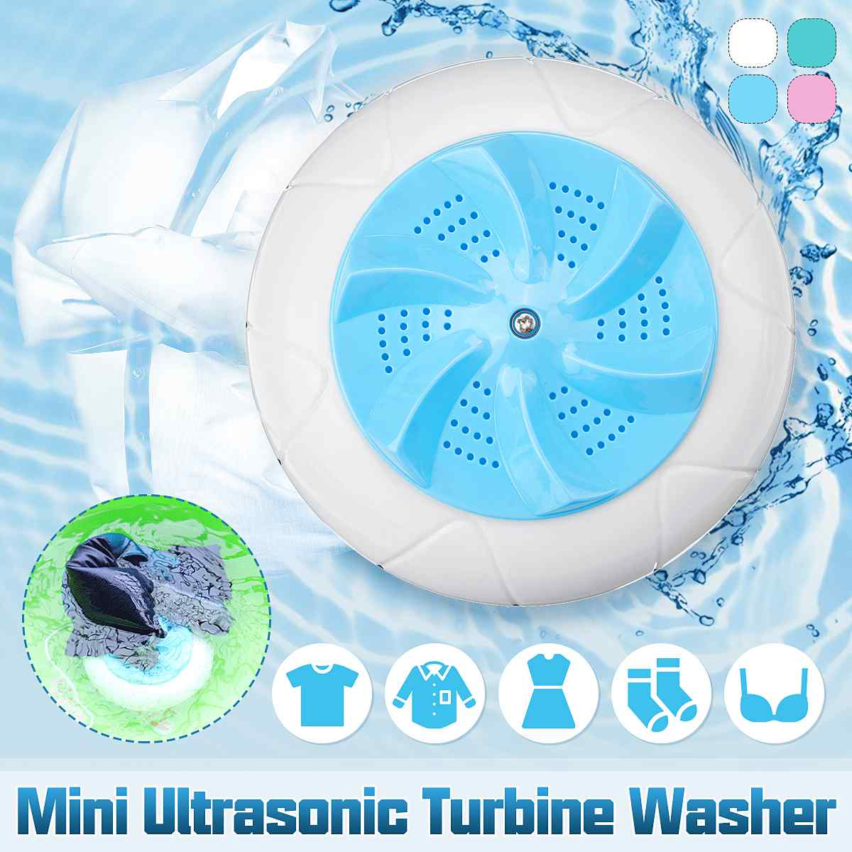 Mini Washing Machine Portable Personal Rotating Ultrasonic Turbines Washer USB Convenient Laundry For Travel Home Business Trip