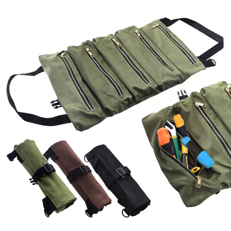 Car Tool Roll Up Bags Canvas Storage Pouch Tools Tote Sling Holder Back Seat Organizer