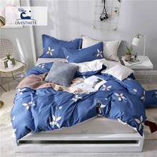 Liv-Esthete Elegant Flower Blue Bedding Set Soft Duvet Cover Pillowcase Bed Linen Bedspread Flat Sheet Or Fitted