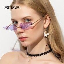 Então & ei único sem aro chama forma feminina óculos de sol marca designer claro oceano lente óculos de sol das senhoras óculos de sol uv400