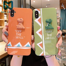 3D Dinosaur Phone Case For iphone 11 Pro Max X XR XSMAX Lovely Animal Soft IMD Cartoon For iPhone 6 6S 7 8 Plus Back Cover(China)
