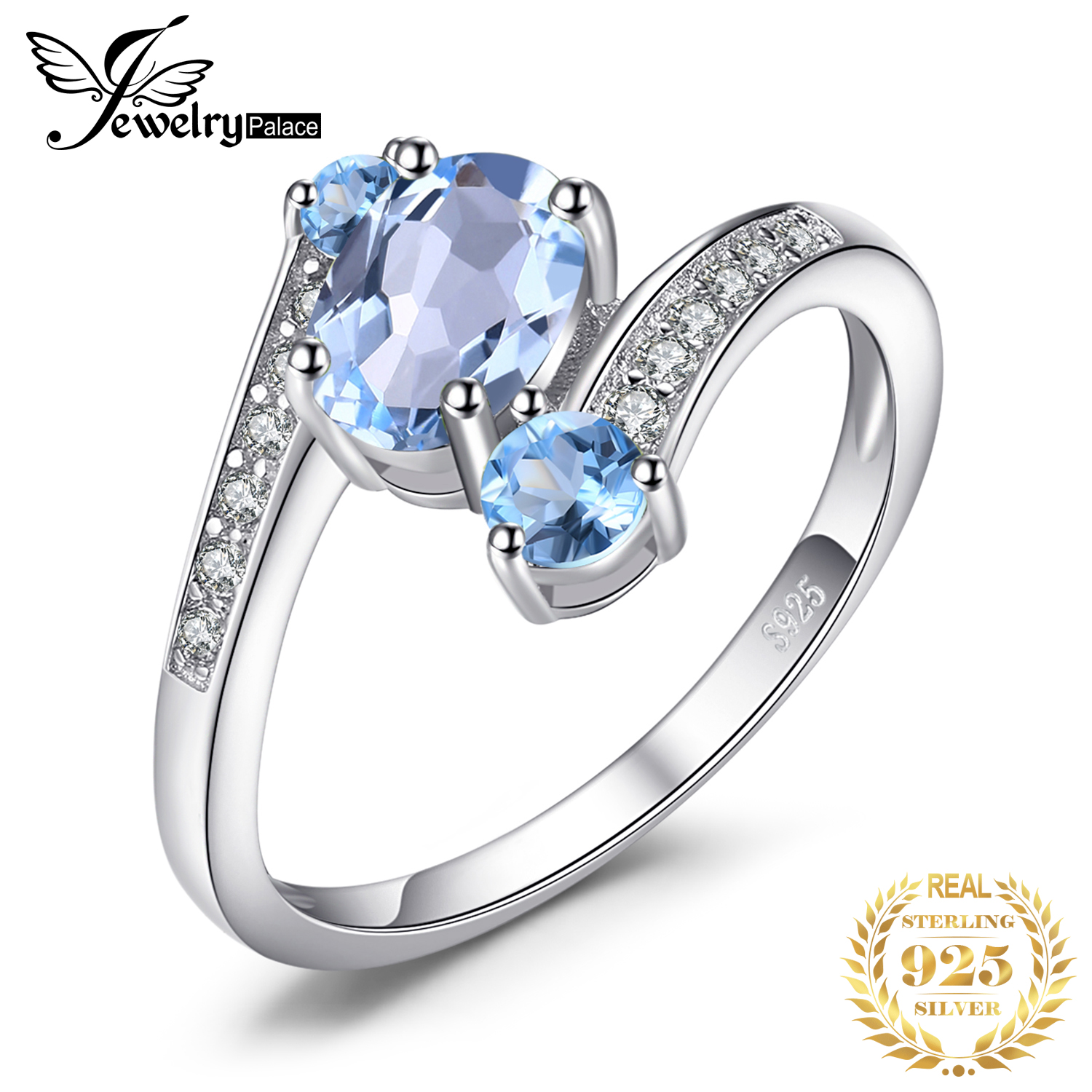 JewelryPalace 3 Stones Genuine Blue Topaz Ring 925 Sterling Silver Rings For Women Engagement Ring Silver 925 Gemstones Jewelry