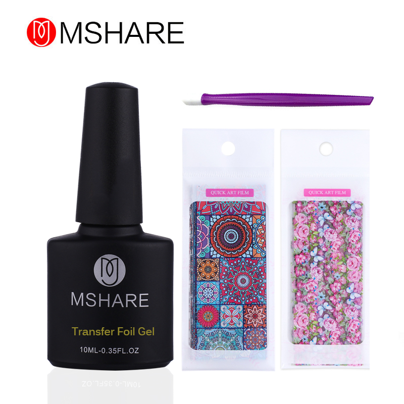 MSHARE Deco Foil Transfer Gel Set Adhesive Glue Gel Holograph Sticker Polish 10ml Vintage Sticker 4pcs Set