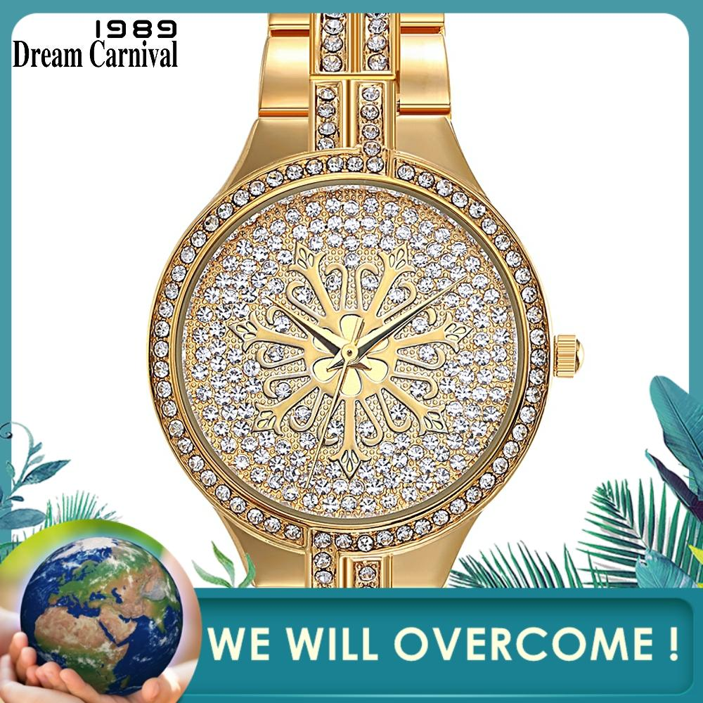 Dreamcarnival 1989 New Arrivals Ladies Wrist Watch Quartz Crystals Dial Metal Band Alloy Case Fashion Rhodium Gold Color A8342