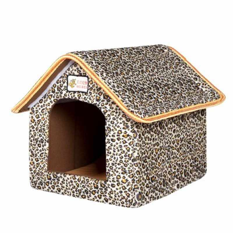 Haustier Käfig Atmungsaktiv Abnehmbare Waschbar & Faltbare Bett mit Matte Weiche Winter Leopard Hund Welpen Sofa Kissen Haus Kennel Nest