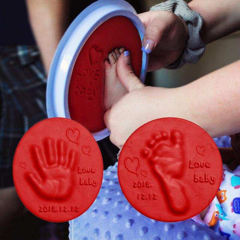 Weichen Ton DIY Neugeborenen Baby Souvenirs Hand Druck Fußabdruck ungiftig Ton Kit Casting Eltern kind Hand Tinte pad Fingerprint Spielzeug Hand- und Fussabdruckmacher    -