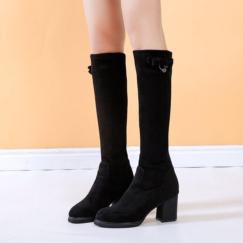 Lucyever Winter Women Long Boots Elegant 7cm High Heels Bling Crystal Warm Shoes Woman Plush Inside Knee High Botas Mujer 2019