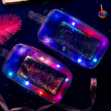 Creative PVC Light Pencil Case Colorful Transparent Quicksand Cosmetic bag Planet Moon Stationery School Supplies Pouch Gift