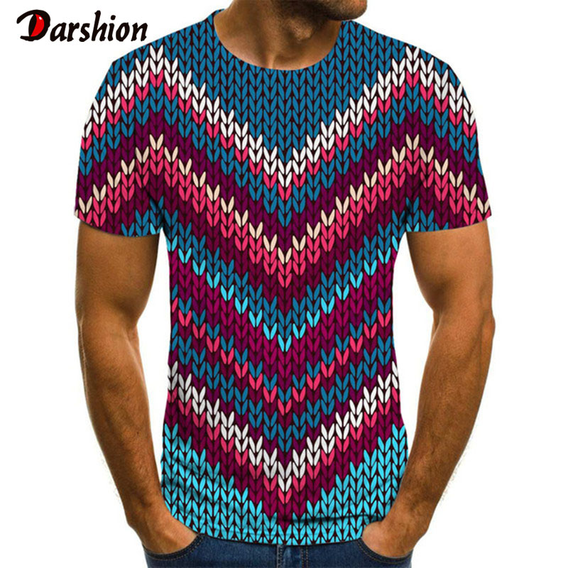 3D Illusion Printing Men's T-shirt Summer O-Neck Daily Casual Funny T Shirt  Funny Checked Tunnel Print T-Shirt
