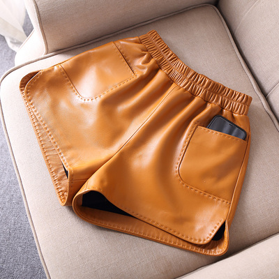 2019 New Elastic HHgh Waist Slim Sheep Leather Shorts J30