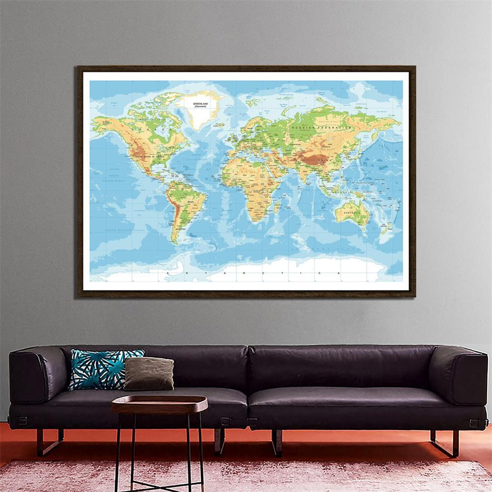150x100cm Non-Woven Mercator Projection World Map HD World Map For Education And Culture