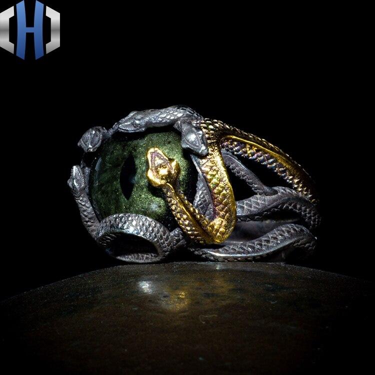 Original Design 925 Silber Schlange Ring Männlichen 24K Gold Schlange Ring Persönlichkeit Hüfte Hop Index Finger Ring Flut - 4