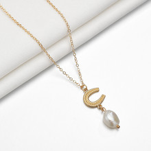 Fashion Adjustable Chain Necklace Collier Pendentif Natural Freshwater Pearl Pendant Statement Chokers Necklace Women's Jewelry(China)