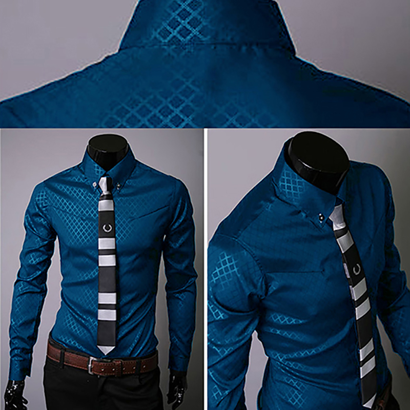 New Argyle luxury men's top Formal Social Business Style Slim Soft Comfort Long Sleeve Casual Dress Tops Gift For Men Clothing 4