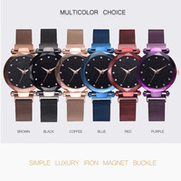 reloj mujer Fashion women watch Star Sky Watch Ladies Magnet Stone Milan Mesh Belt Women's Watch bayan kol saati