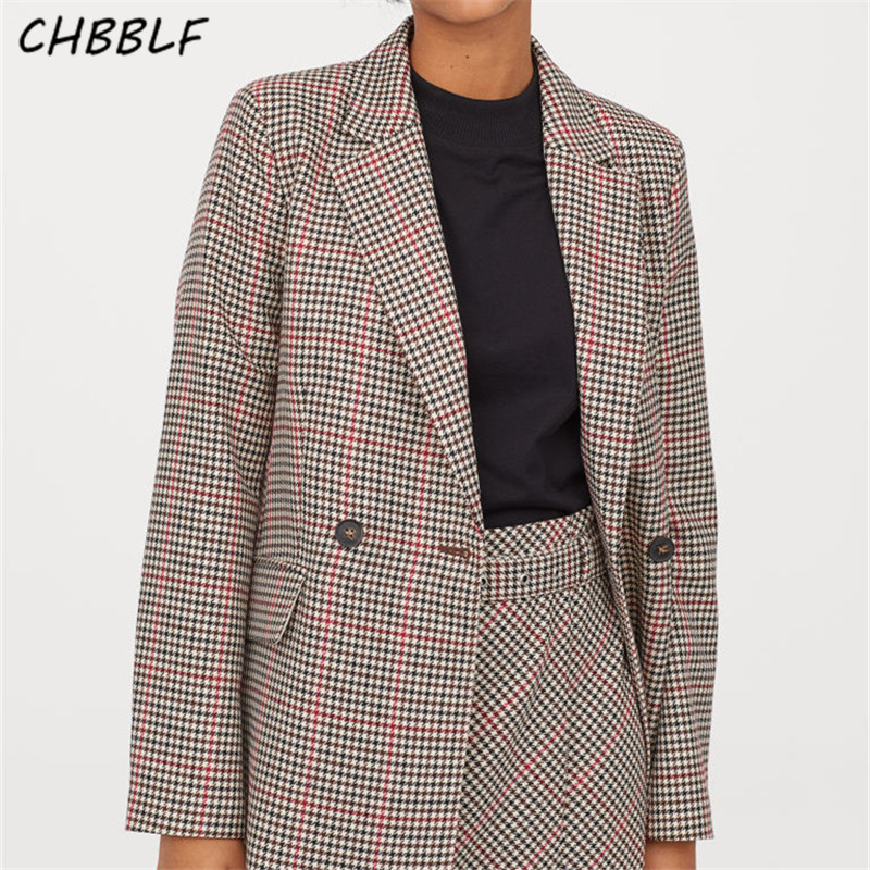 CHBBLF Women Basic Plaid Houndstooth Blazer Notched Collar Long Sleeve Pockets Formal Office Wear Jacket Female Coat DFT27366