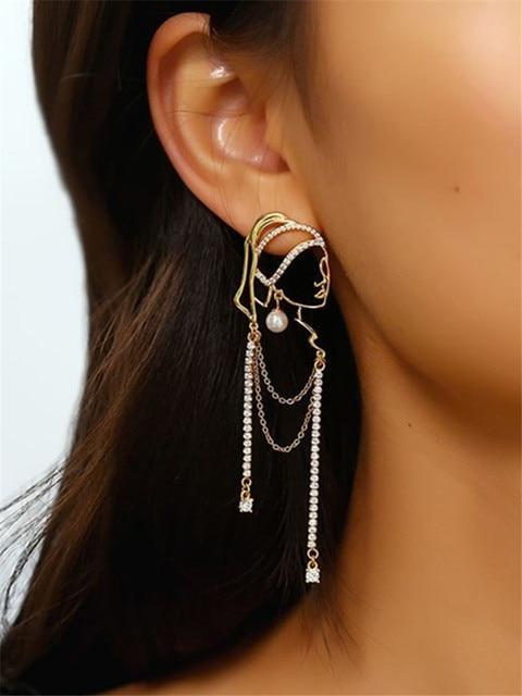 S925 Needle Pearl Long Tassel Abstract Lines Girl Portrait Earrings Hyperbole Personality Dangle Earrings Women Jewelry 3