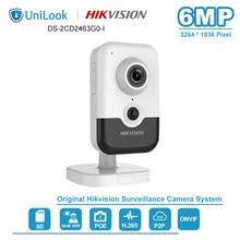 Hikvision 6mp 고정 큐브 wi fi (옵션) 네트워크 카메라 poe 내장 마이크 홈 보안 onvif ir 10m DS 2CD2463G0 I