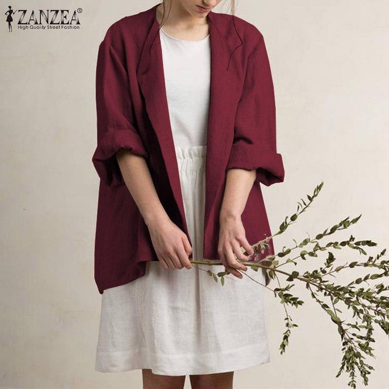 ZANZEA Women Elegatn Solid Blazer Suit Long Sleeve Cardigan Casual Coat Female Office OL Jackets Autumn Winter Outwear Plus Size