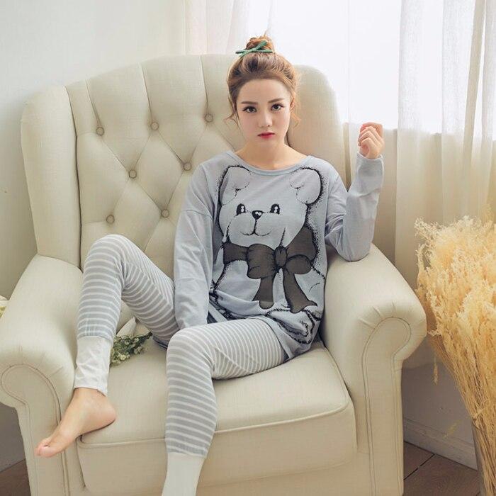 Spring Summer New Fashion Pajamas For Woman Long Sleeve & Pants Cotton Good Quality Sleepwear Woman's Pajama Sets