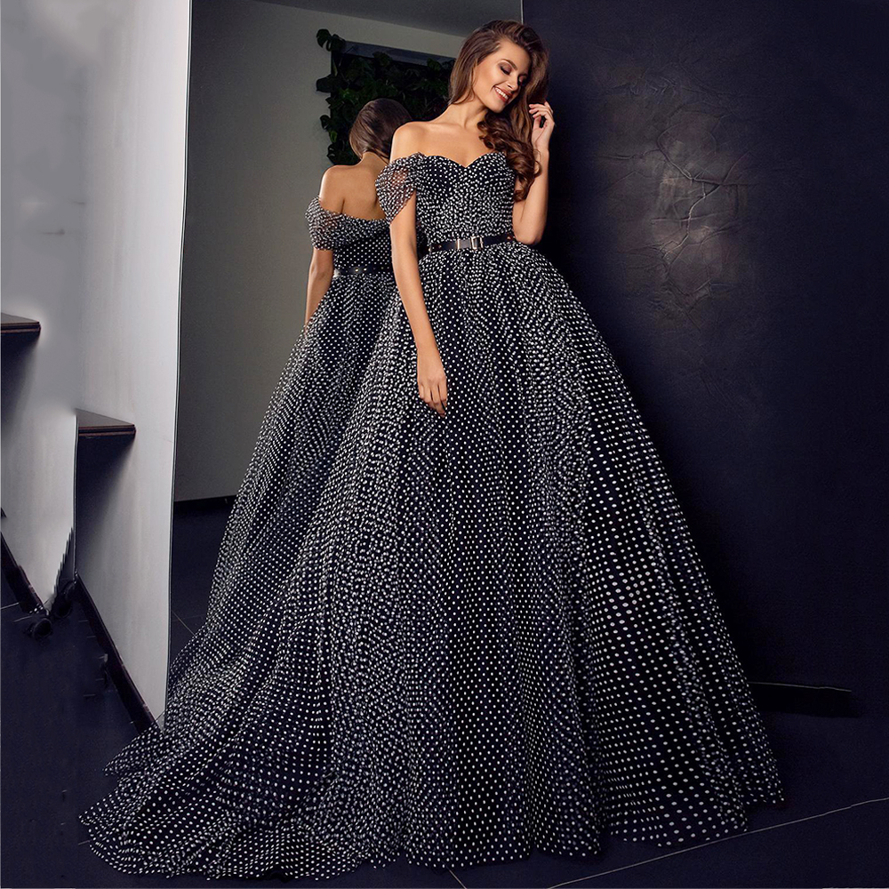 Eightree 2020 Sparkly Black Prom Dresses Off Shoulder Chiffon A Line Spot Evening Dress Special Occasion Dress Formal Party Gown