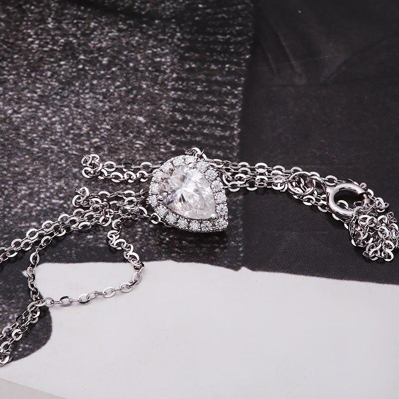 1.0carat 5x7mm Pear Cut DF Color VVS1 Moissanite Necklace Classic Style Solid 18k