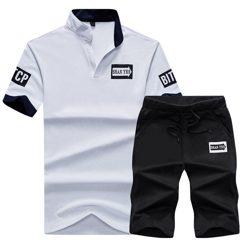 MEN'S Short-sleeved T-shirt Sports Shorts Set Summer Casual Two-Piece Set Short Loose And Plus-sized Fashion
