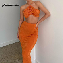 Fashionsta Long Dress Summer Sexy Solid Dress Two Pieces Dress Party Club Bodycon Women Halter Dresses Hollow Out Vestidos Hot