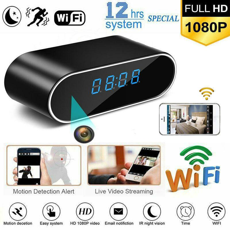 Kuulee Mini WiFi Clock Camera Wireless 1080P Night Vision Security Nanny Camera Baby Monitoring Camera