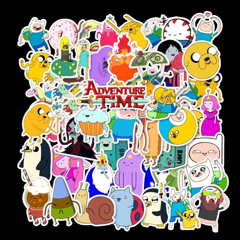 50pcs Cartoon Adventure Time Electric Suitcase Travel Case Computer Waterproof Stickers