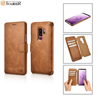 iCarer Genuine Leather Wallet Case for Samsung S9 Plus Luxury 2 in 1 Magnet Flip Back Cover for Samsung S9 Cowhide Leather Case