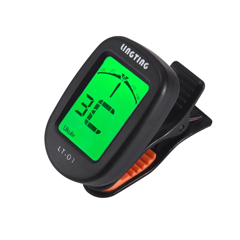 LINGTING LT-01 Mini Clip-On Digital Electronic Tuner 360° Rotatable with 2 Backlight LCD Screen for Guitar Bass Ukulele Violin