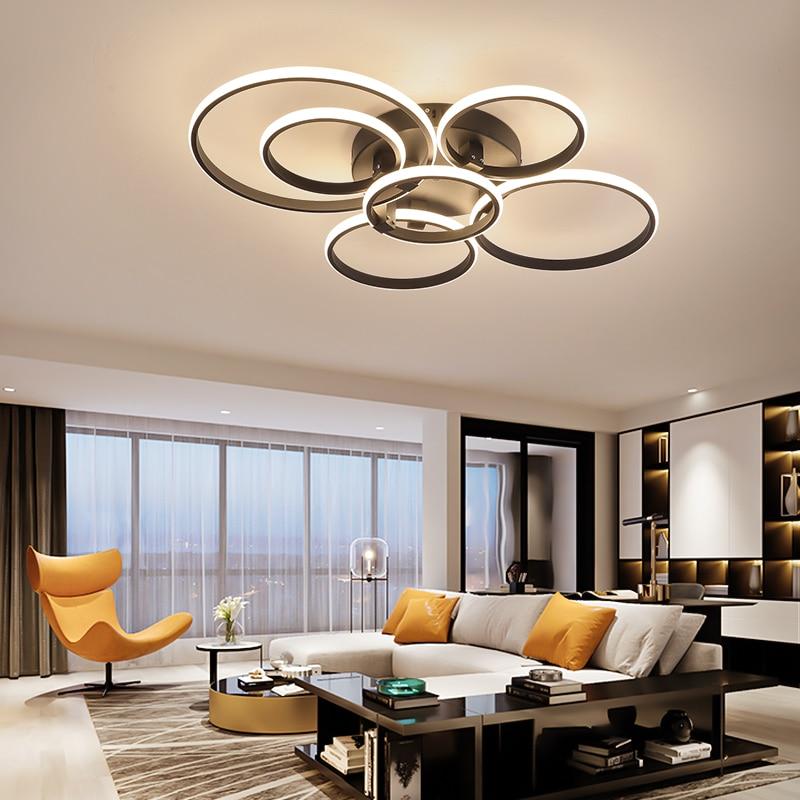 Neo gleam luminária de teto moderna led, novo rc regulável, app, anéis de círculo, designer para sala de estar, quarto, lâmpada de teto fixações