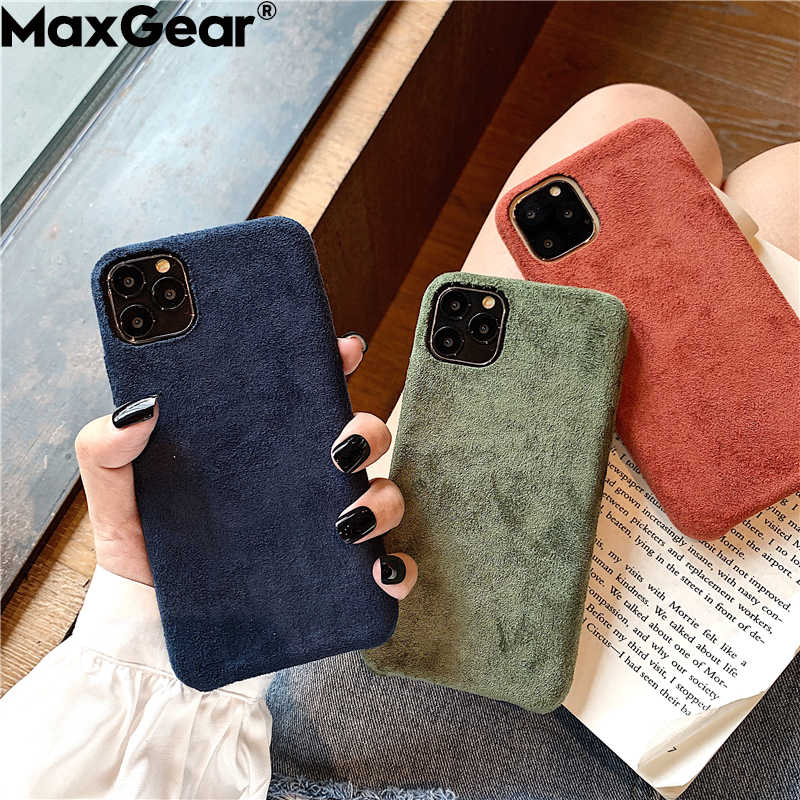 Fashion Solid Color Cloth Case For iPhone 11 Pro Max XS X XR 6 S 6S 7 8 Plus Soft Silicone Slim Warm Plush Fabric Cover iPhone11