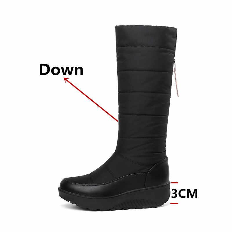 FEDONAS Yeni Kadın Kış Sıcak Kar Botları Takozlar Yüksek Topuklu Diz Yüksek Çizmeler Kadın Uzun Çizmeler Platform Ayakkabı Kadın