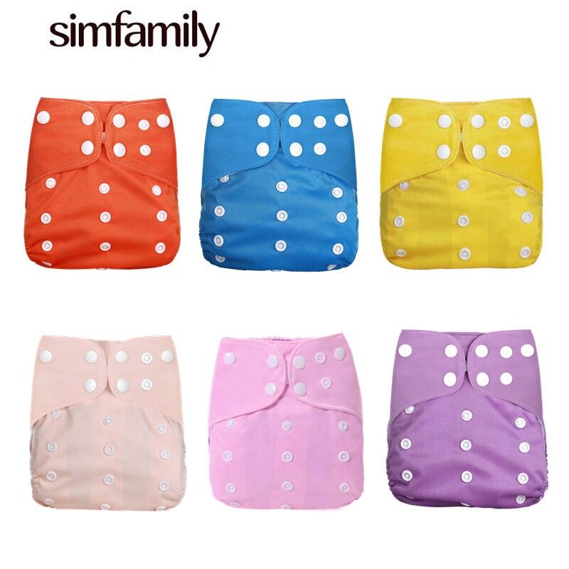 [Simfamily] 1 шт. Многоразовые водонепроницаемые детские тканевые подгузники с цифровым принтом, регулируемые однотонные подгузники для детей ...