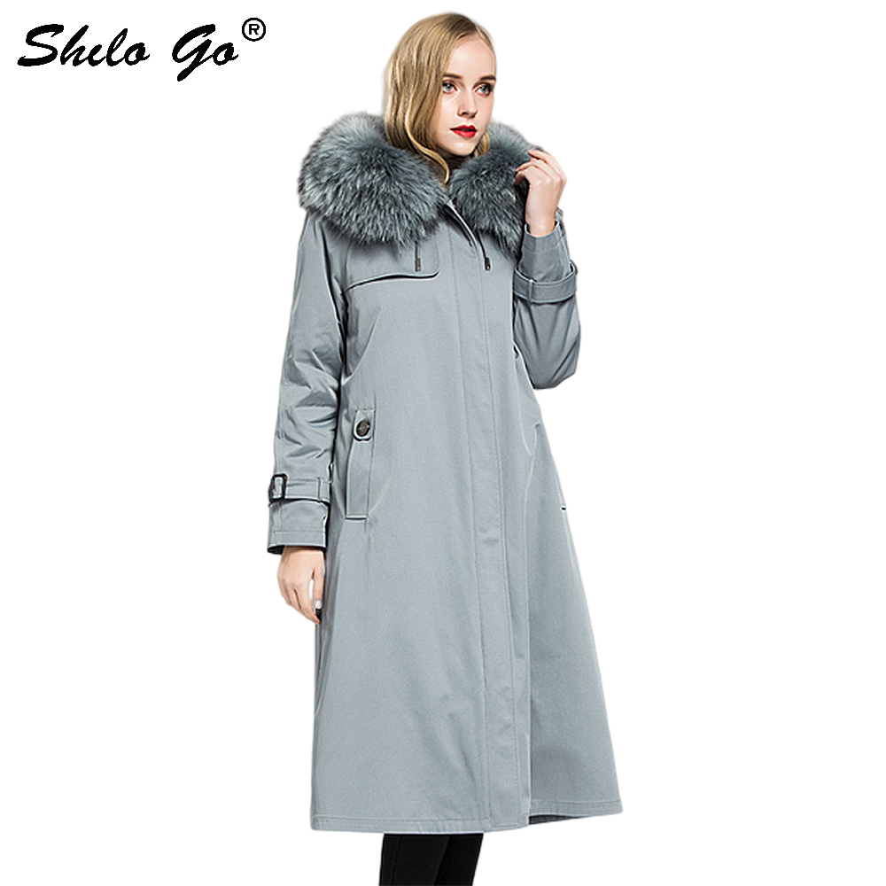Fur Parkas Elegant Real Raccoon Fur Thick Warm Rabbit Fur Lining Long Coat Women Winter Solid Office Lady A Line Outwear Female