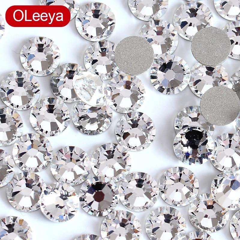Super paillettes cristal Nail Art strass SS3-SS50 Flatback clair Non correctif strass colle sur les décorations dart dongle Y0100