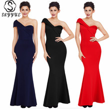Skyyue Evening Dress Chiffon Elegant Robe De Soiree 2019 Plus Size Floor Length Women Party Dresses Sleeveless Formal Gowns T045