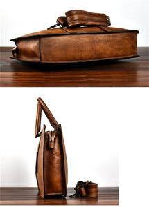 Image 4 - PNDME vintage high quality genuine leather mens briefcase business laptop handbag luxury cowhide office shoulder messenger bags