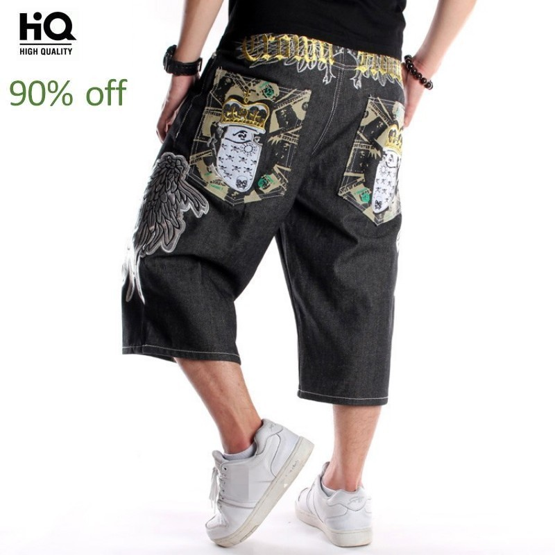 Street Hip Hop Mens Loose Straight Embroidery Denim Jeans Calf Length Vintage Summer Fashion Casual Cowboy Trousers Plus Size