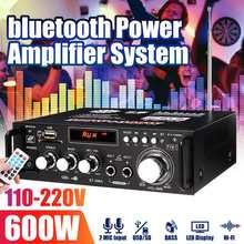 Altavoces Hifi de 110V-220V y 600W para coche AMPLIFICADOR DE POTENCIA DE Audio Bluetooth, pantalla LED, Karaoke, amplificador de cine en casa, 2 canales