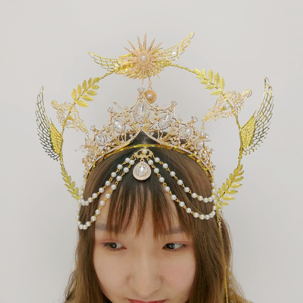 Halo Crown Gold Headband Virgin Mary Tiaras Headpiece Lolita