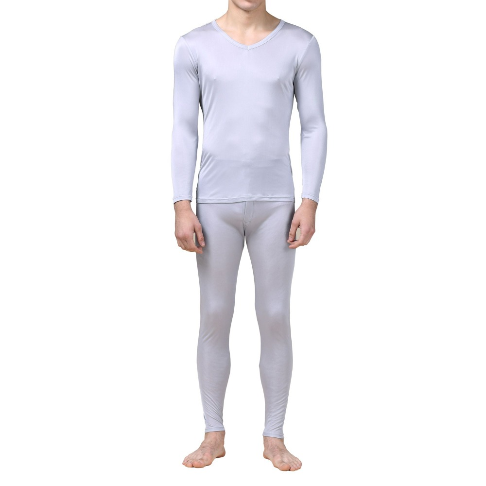 Uomini Calzamaglia invernale, intimo termico 100% Pura Seta Jersey Knit Uomo Con Scollo A V Biancheria Intima Termica Per Gli Uomini Autunno Inverno Superiore e Inferiore Set taglia L XL XXL - 3