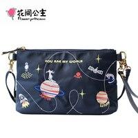 Flower Princess Brand New Animal Planet Embroidery Shoulder Bags Teenage Girl Crossbody Messenger Bag Hand Bags bolsa feminina