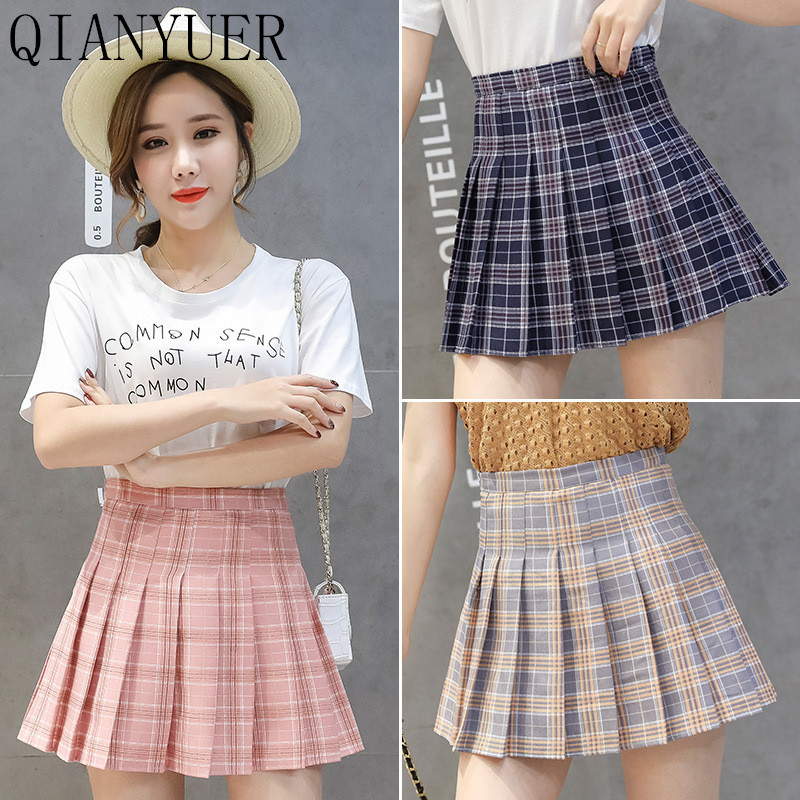 Pleated Skirt Spring And Summer Female 2020 New Student Cheerleading Short Plaid Slim Skirt High Waist Tennis Skirt Uniform