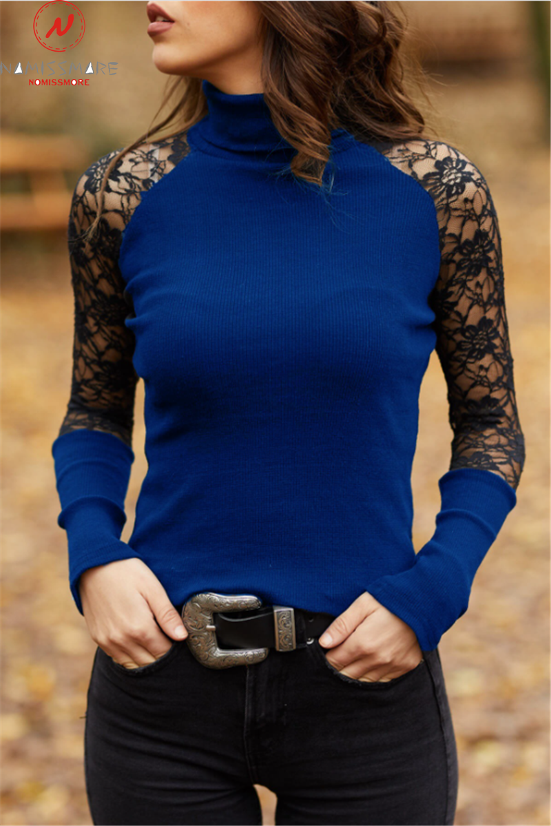 Elegant Women Spring Autumn T-Shirts Hollow Out Design Lace Decor Half High Collar Long Sleeve Slim Pullovers Top 2