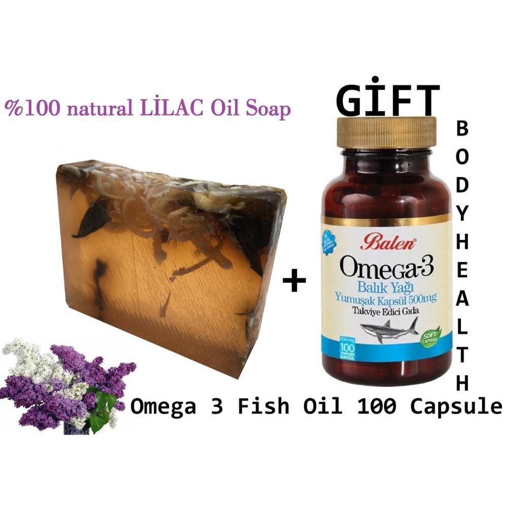 (gift Items)HANDMADE LILAC Essential Oil 100gr Soap+Gift Food Supplement Omega 3 Fish Oil Perfect For Health 100 Capsules