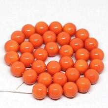 Moda de alta qualidade laranja cozimento pintura vidro redonda solta contas 4,6, 8,10, 12,14mm venda quente feminino jóias fazendo 15 polegada b1628