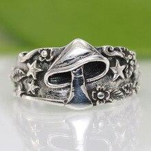 В винтажном стиле со звездами с узором «Грибочки» кольцо в стиле ретро, панк-Цвет: старое серебро палец кольца для мужчин и женщин в стиле хи...